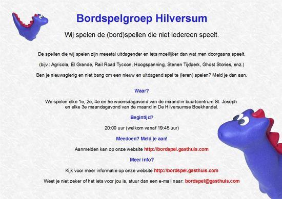 Flyer Bordspelgroep Hilversum